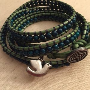 Jewelry - Green with Green Leather Wrap Bracelet
