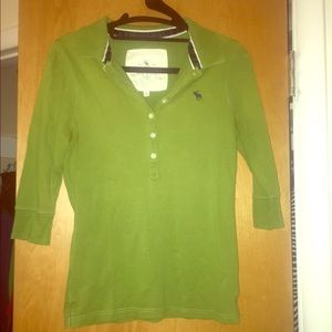 Abercrombie and Fitch 3/4 sleeve green polo