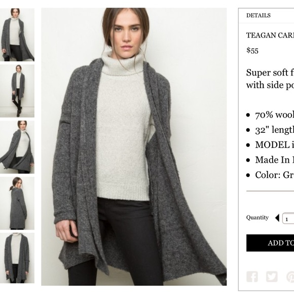 Brandy Melville - BNWT dark gray soft wool Teagan cardigan from ...