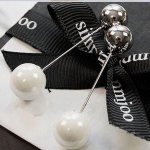 Temperament Pearl Jewelry Metal Ball Earrings