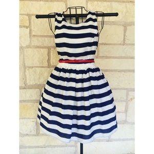Striped Navy Blue Pouf Dress