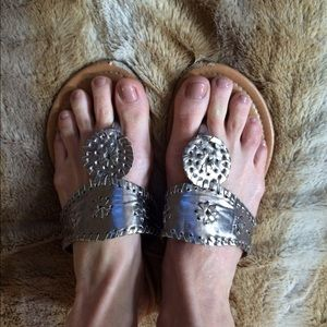 Shoes - Pewter Jack Rogers look alike sandals.