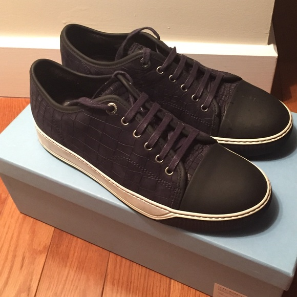 amazing price online Lanvin Leather Embossed Sneakers cheap sale purchase bGrzaLlsh