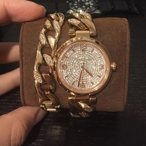 Michael kors rose gold watch with box