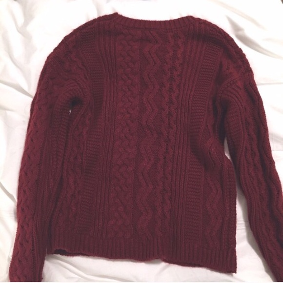33% off Garage Sweaters - Maroon Red Cable Knit Sweater Garage ...