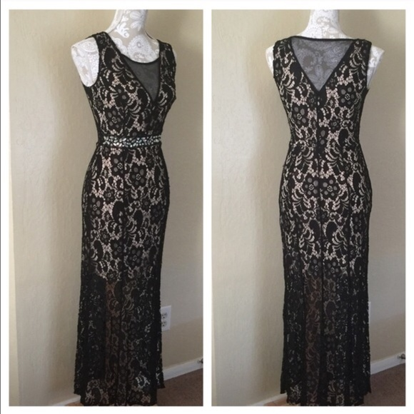 Elegant Evening Dress Black Crochet Lace Overlay | Poshmark