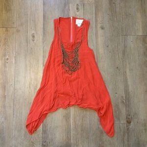 Aryn K Asymmetrical Chained Silk Blouse