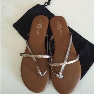 Yosi Samra  Shoes - Yosi Samra Metallic Flip Flops
