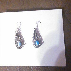 Blue cat eye stone & silver earrings