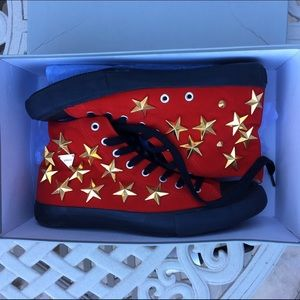 Joyrich Other - JOYRICH Red Suede GOLD Star Studded Hi Top Shoes