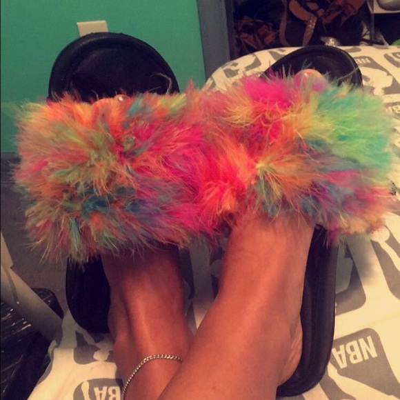 shoes rainbow fur slides poshmark