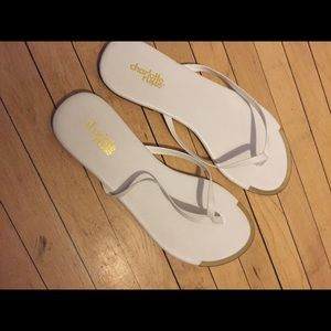 Charlotte Russe Shoes - White/ gold sandals brand new size 8