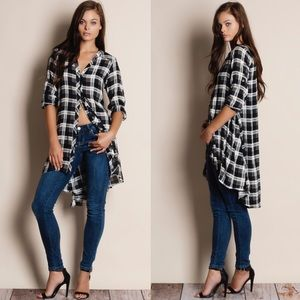 Bare Anthology Tops - Plaid Button Down Flare Tunic