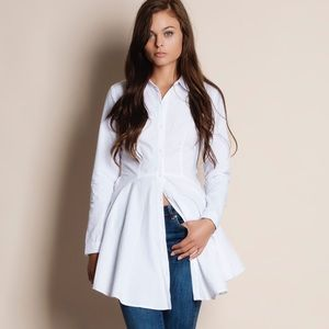 Bare Anthology Tops - Flare Button Down Long Sleeve Top