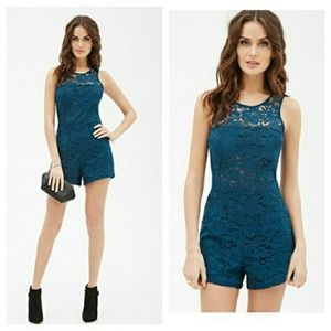 Forever 21 Teal Semi Sheer Floral Lace Romper