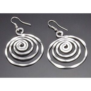  Hammered Circles Silver Earrings 