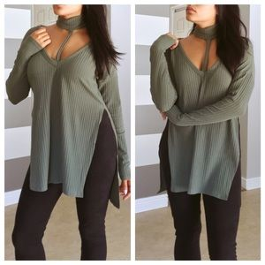 Sweaters - Olive ribbed choker slit jumper