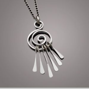 Long Hammered Silver Dreamcatcher Necklace