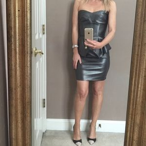 Hybrid Leather Peplum Dress