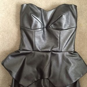 Hybrid Dresses - Hybrid Leather Peplum Dress