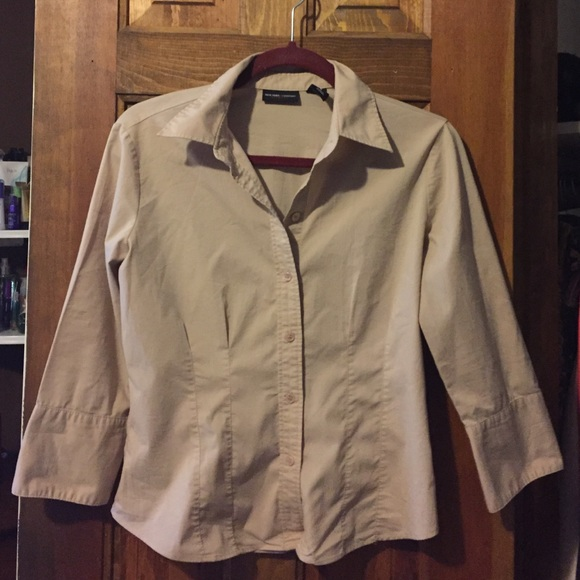 New York & Company Tops - New York & Company Tan Button Down Shirt