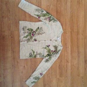Size Small Talbots Cardigan Beige Floral Sequins