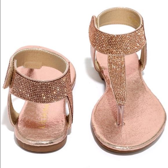 66e868c7161a Liliana Rose Gold Champagne Rhinestone Sandals
