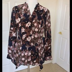 Simply Vera Vera Wang Tops - Floral Blouse With Scarf Hemline