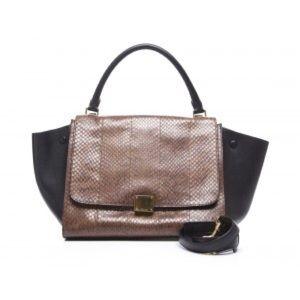 Celine Brown Python Black Leather Trapeze Bag