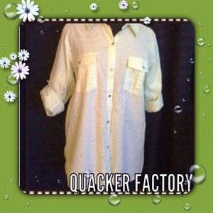 Quacker Factory Tops - Seersucker Shirt Green White Quacker Factory