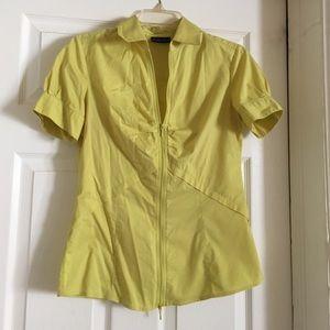 New York & Company Tops - NY & Company yellow green zip down top
