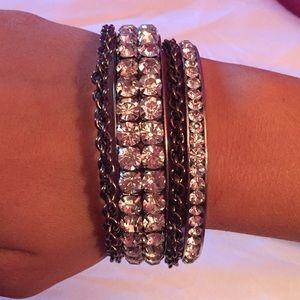 WINDSOR Jewelry - Silver Crystal Bangle Bracelet Set