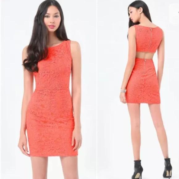 bebe Dresses & Skirts - 💐 Bebe 💐 Coral Lace Cutout Back Dress