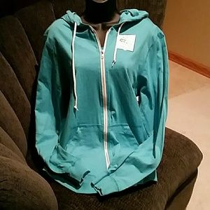 Fruit of the Loom Tops - Light teal zip up hoodie with white trim.