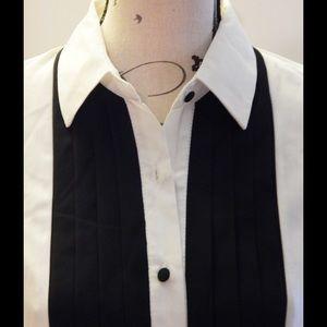 Monteau Tops - Black and White Tuxedo Shirt Size M