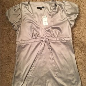 Express Gray Blouse with Ribbon Belt. Size S NWT