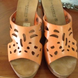 Shoes - Leather peach wedges