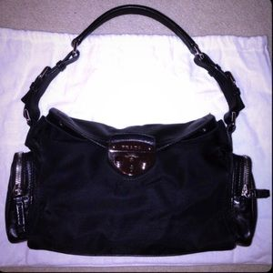 Authentic PRADA Black Leather Shoulder Bag