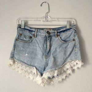 Free People Pants - Free People Lace Denim Shorts