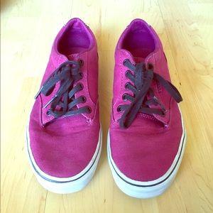 Maroon Vans sneakers