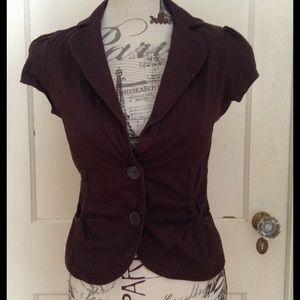 Ambiance Apparel Jackets & Blazers - Brown Short Cap Sleeve Jacket Sz S