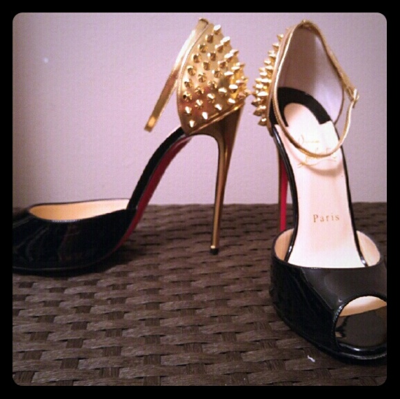 f6c5ace0a0d4 Christian Louboutin Shoes - Louboutin Pina Spike Black Gold Stiletto