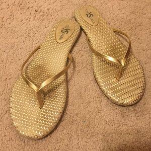 Yosi Samra gold flip flops
