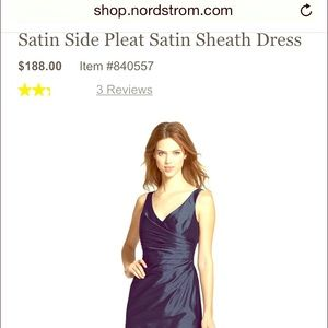 Navy Blue pleated sheath bridesmaid dress