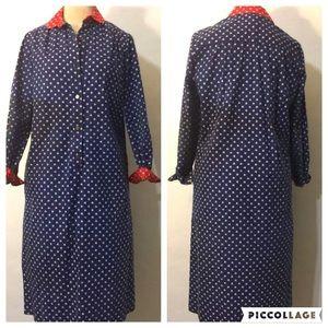 Vintage 70s Americana Patriotic Shirt Dress
