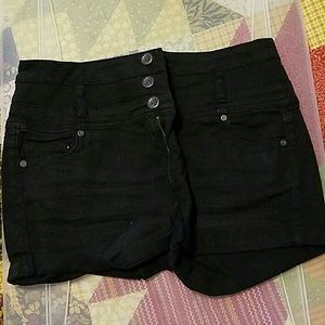 Pants - Black hi waist shorts