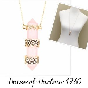 House of Harlow 1960 Rose Quartz Crystal Necklace