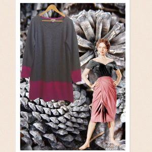 Neiman Marcus Grey & Fuchsia Cashmere Tunic Dress