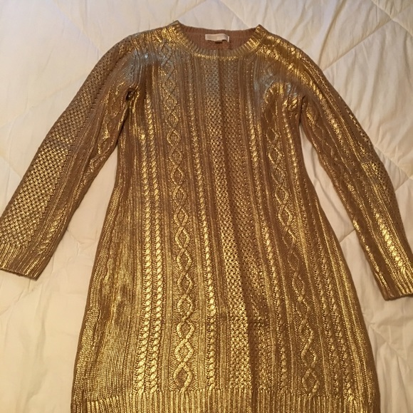 3923ff21e0 Michael Kors Gold Metallic Sweater dress. M 57d7e8e32ba50aef85046cf6