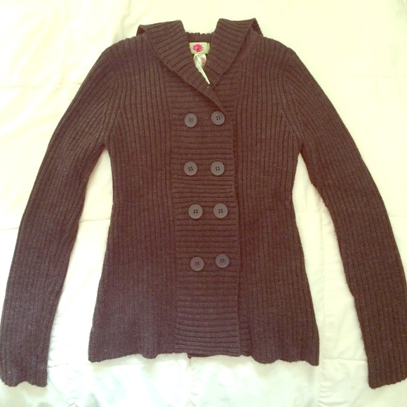 67% off Sweaters - Brown button up sweater with hood from ...